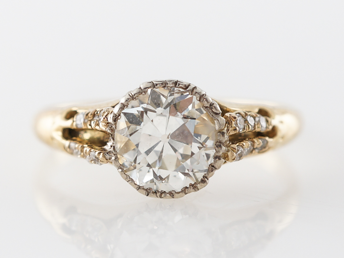 1 Carat Antique Diamond Engagement Ring in 14k Yellow Gold