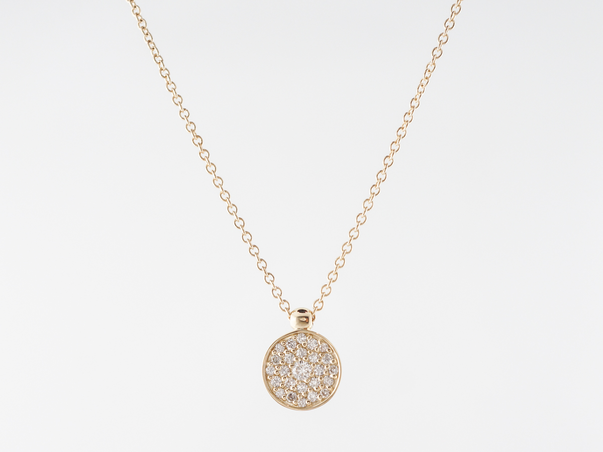 16 Inch Diamond Pave Pendant Necklace in 14k Yellow Gold
