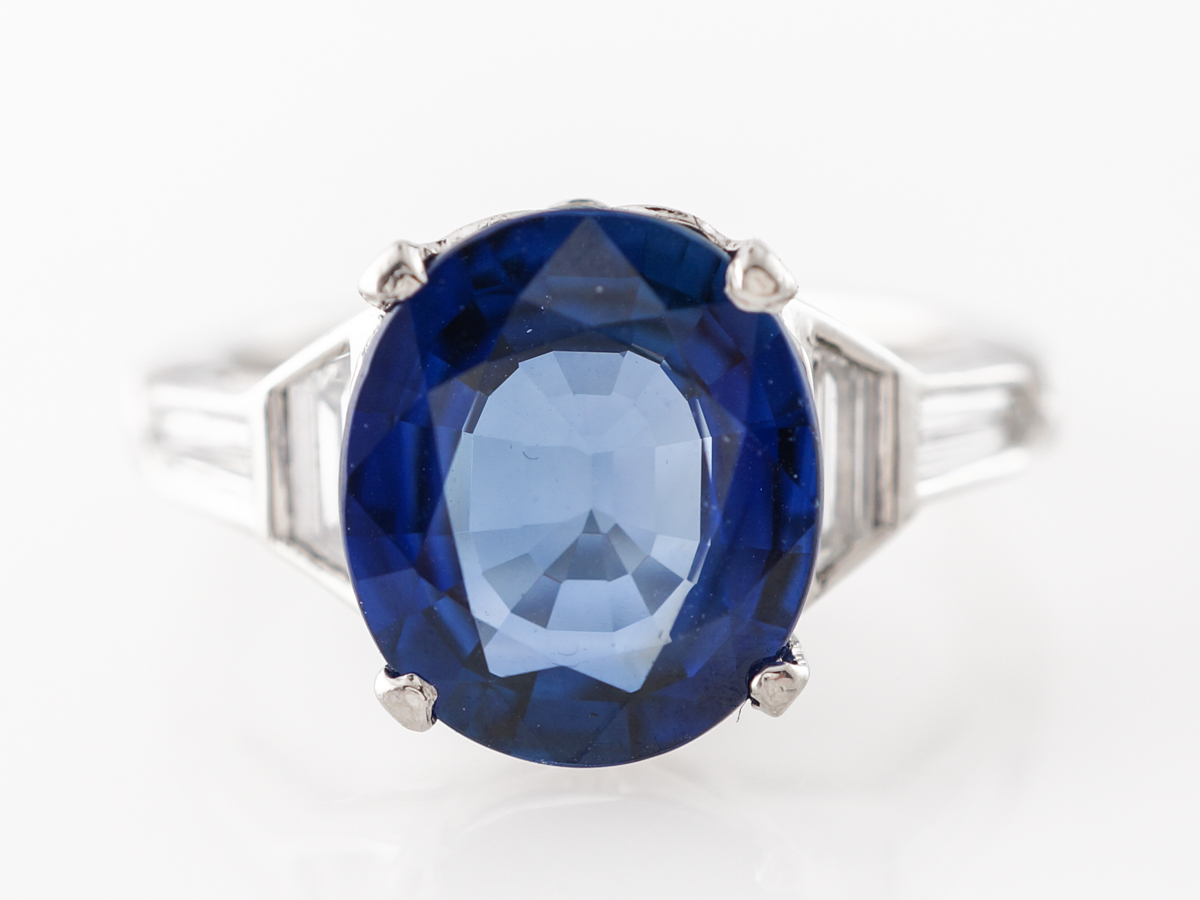 Solitaire Cushion Cut Sapphire Engagement Ring in Platinum