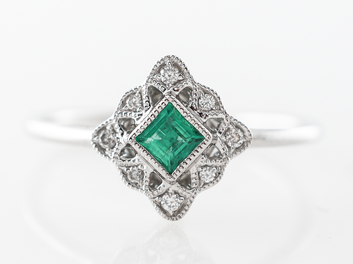 Antique Style Emerald & Diamond Ring in 14k White Gold