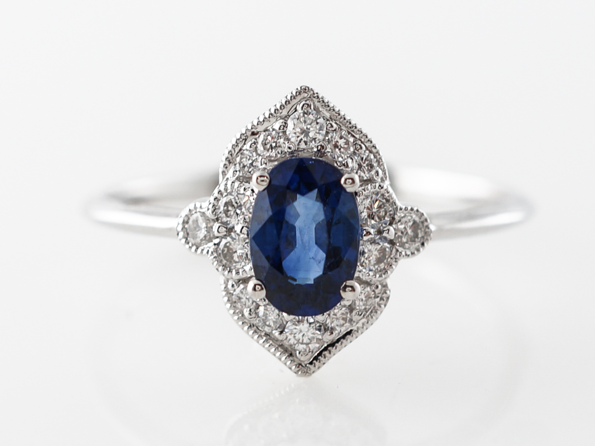 Art Deco Style Oval Sapphire Engagement Ring