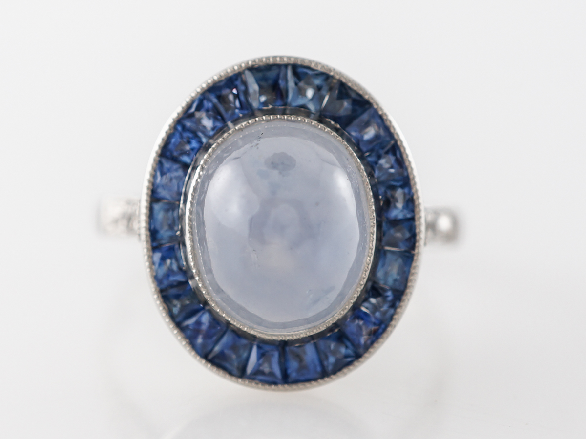 Art Deco Star Sapphire w/ Sapphire Halo Ring in Platinum