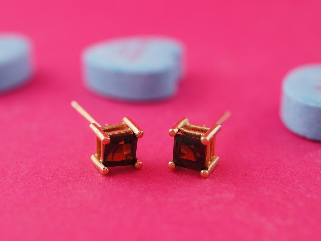 Earrings Modern .46 Square Cut Garnet in 14k Yellow Gold