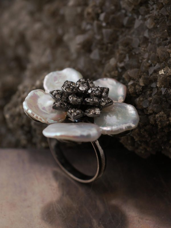 Keshi Pearl & Diamond Floral Cocktail Ring in Sterling Silver