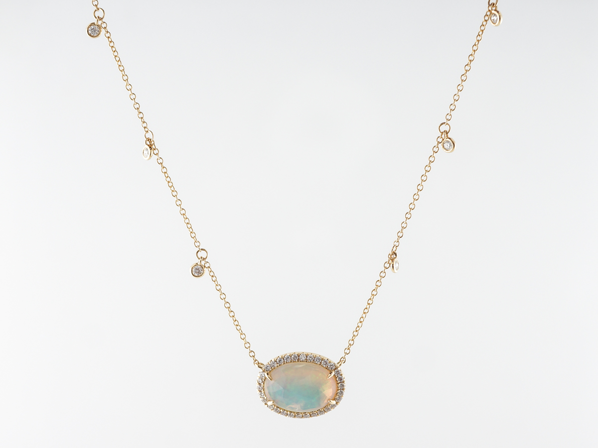 Cabochon Opal & Diamond Pendant in 18k Yellow Gold