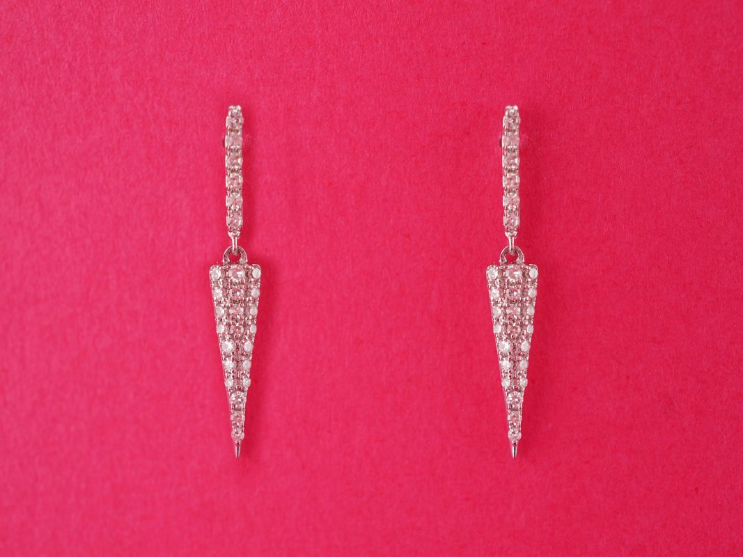 Pave Diamond Dangle Earrings in 18k White Gold