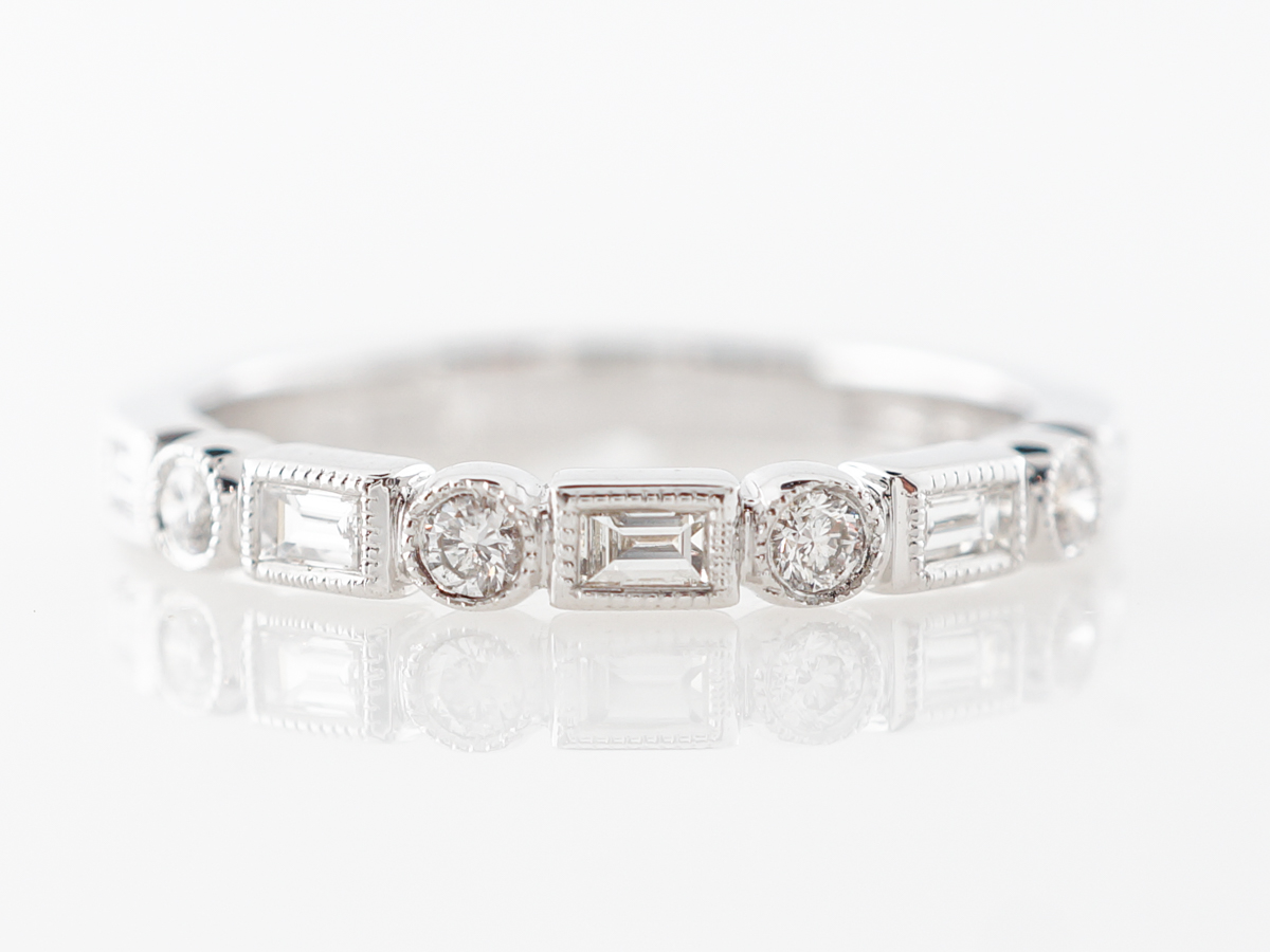 Round & Baguette Cut Diamond Wedding Band in 14k White Gold