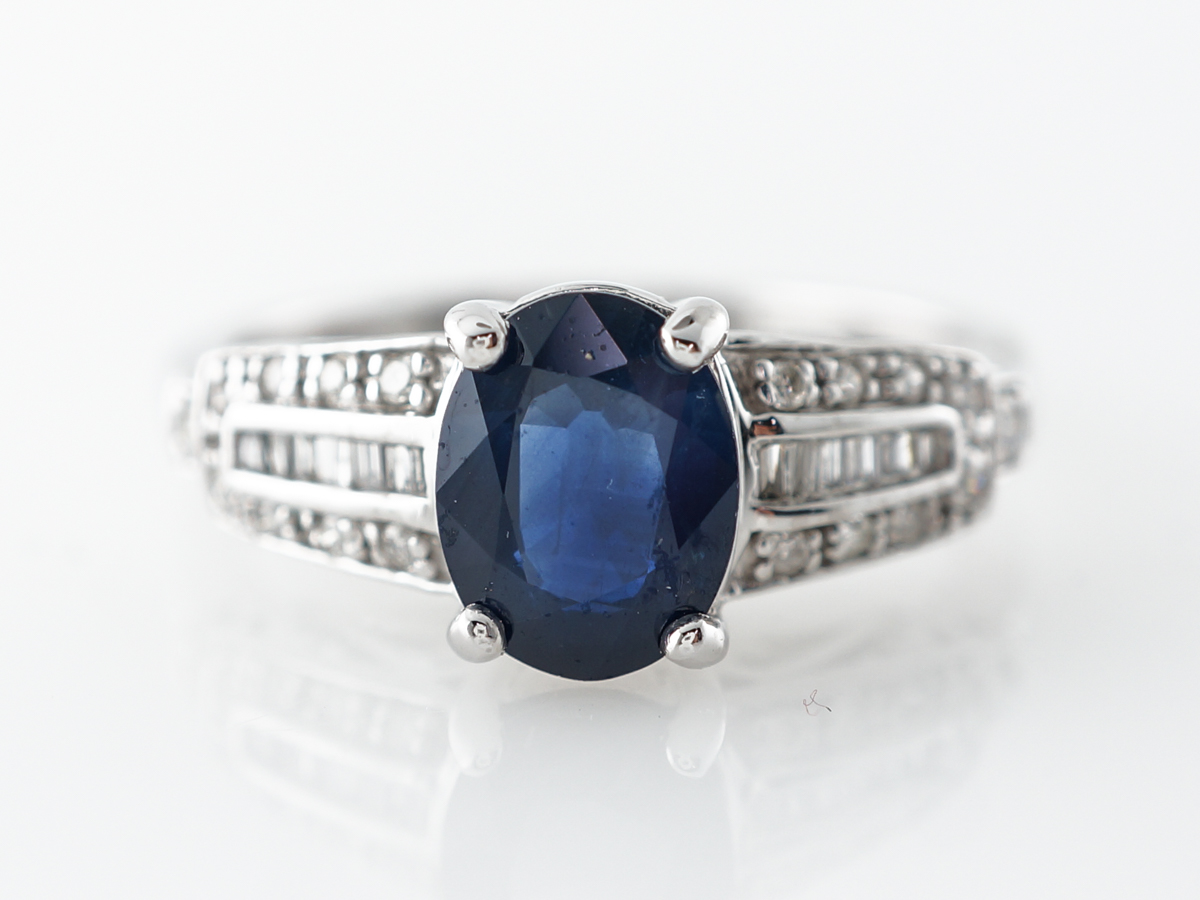 Oval Sapphire Engagement Ring w/ Diamonds in White Gold