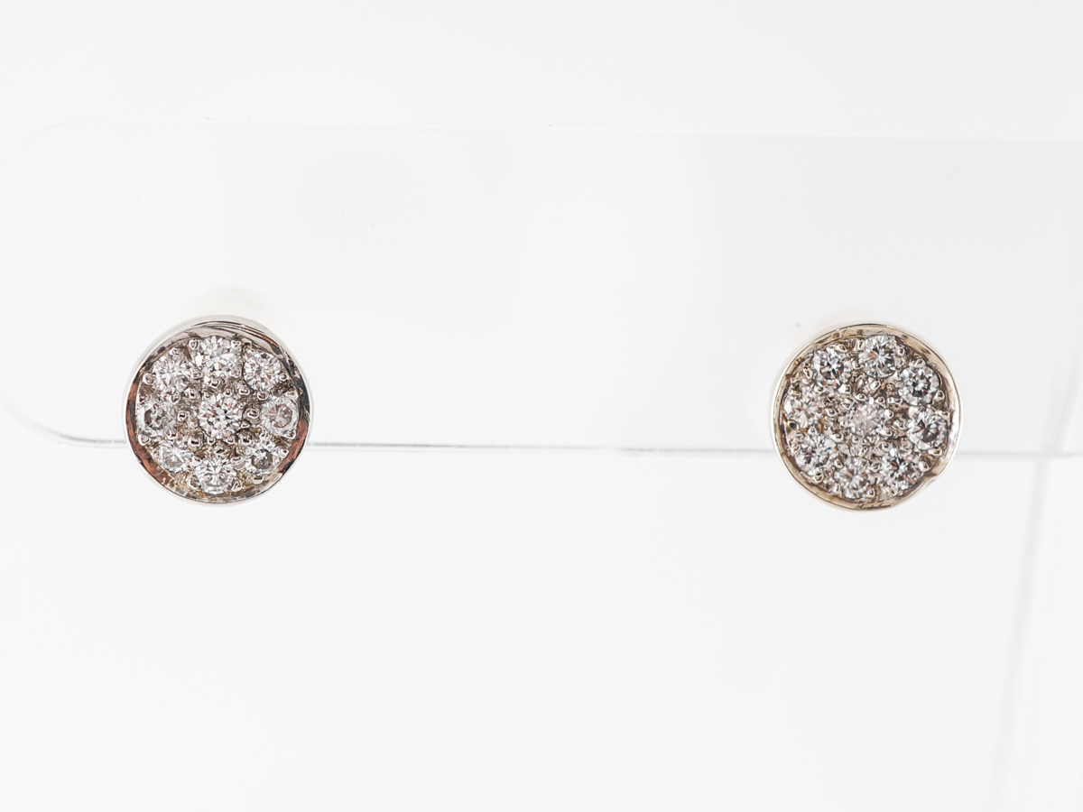Diamond Pave Stud Disc Earrings in 14k Yellow Gold