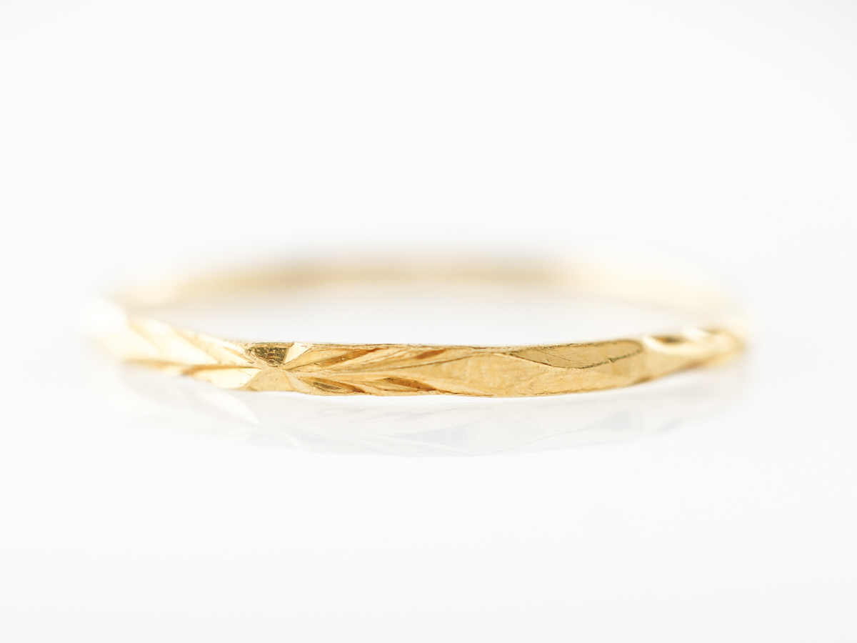 Antique Yellow Gold Engraved Wedding Band in 22k Yellow Gold