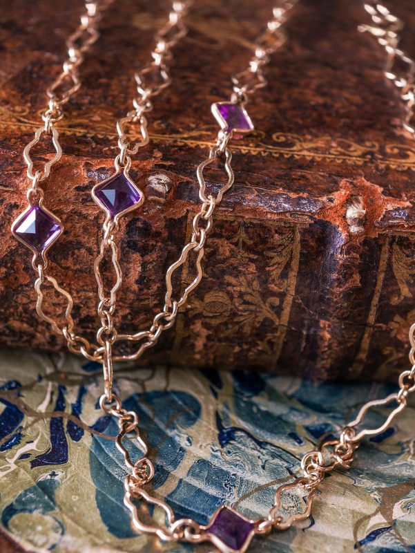 2.94 Square Cut Amethyst Chain Necklace in 14k