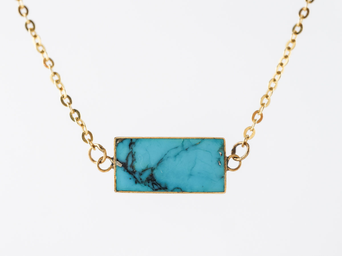 Cabochon Cut Turquoise Necklace in 14k Yellow Gold