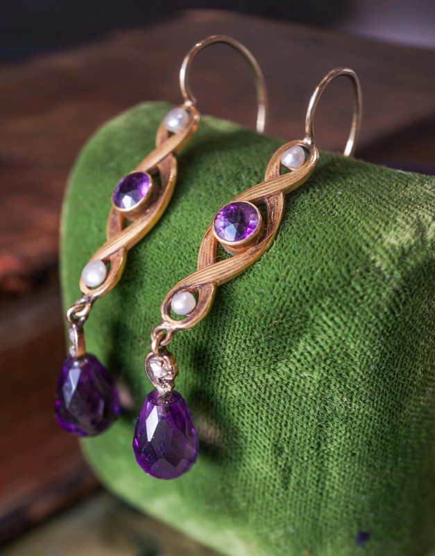 Antique Dangle Earrings Art Nouveau 3.74 Briolette Amethyst in 14k Yellow Gold