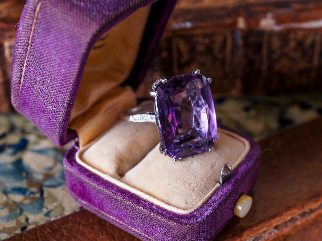 Art Deco Amethyst & Diamond Ring in Vintage Platinum