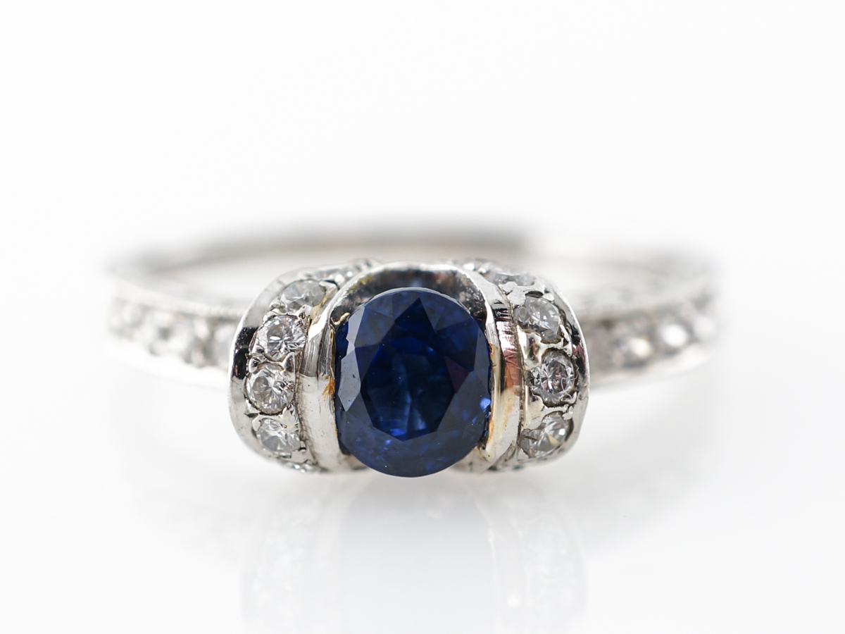Half Carat Sapphire & Diamond Engagement Ring in Platinum