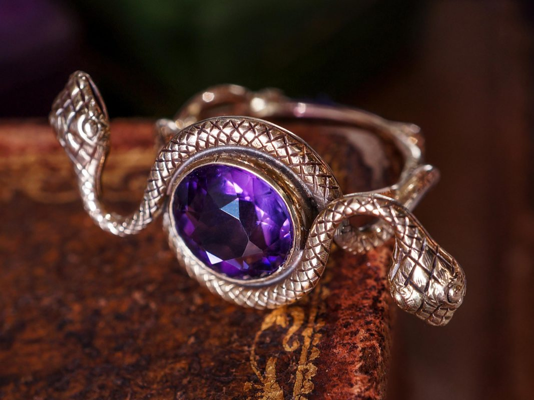 Victorian Amethyst Snake Ring in 14k Yellow Gold