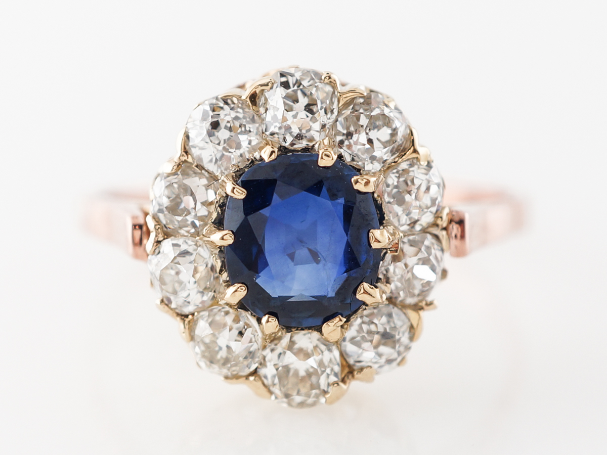 Victorian Cushion Cut Sapphire Engagement Ring Rose Gold