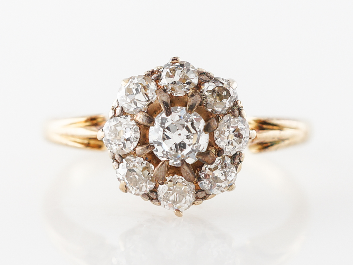 Antique Old Mine Cut Diamond Cluster Engagement Ring
