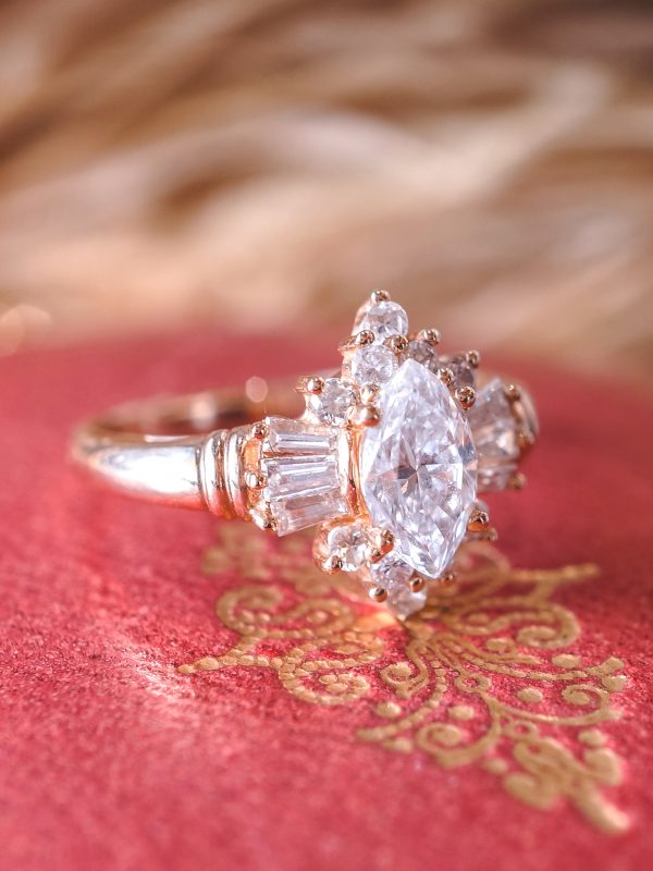 Vintage 1950's Marquis Diamond Engagement Ring in Yellow Gold