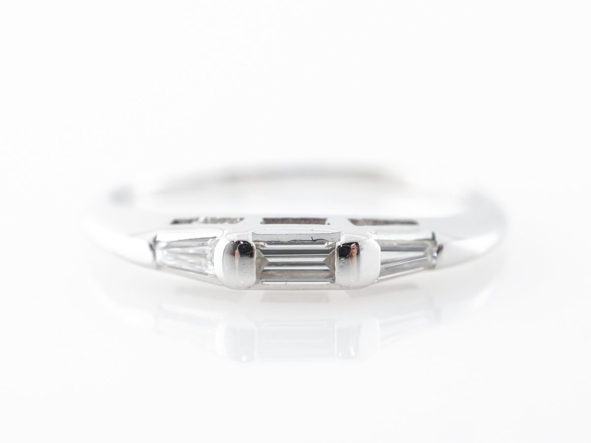 Vintage Baguette Diamond Band in 14k White Gold
