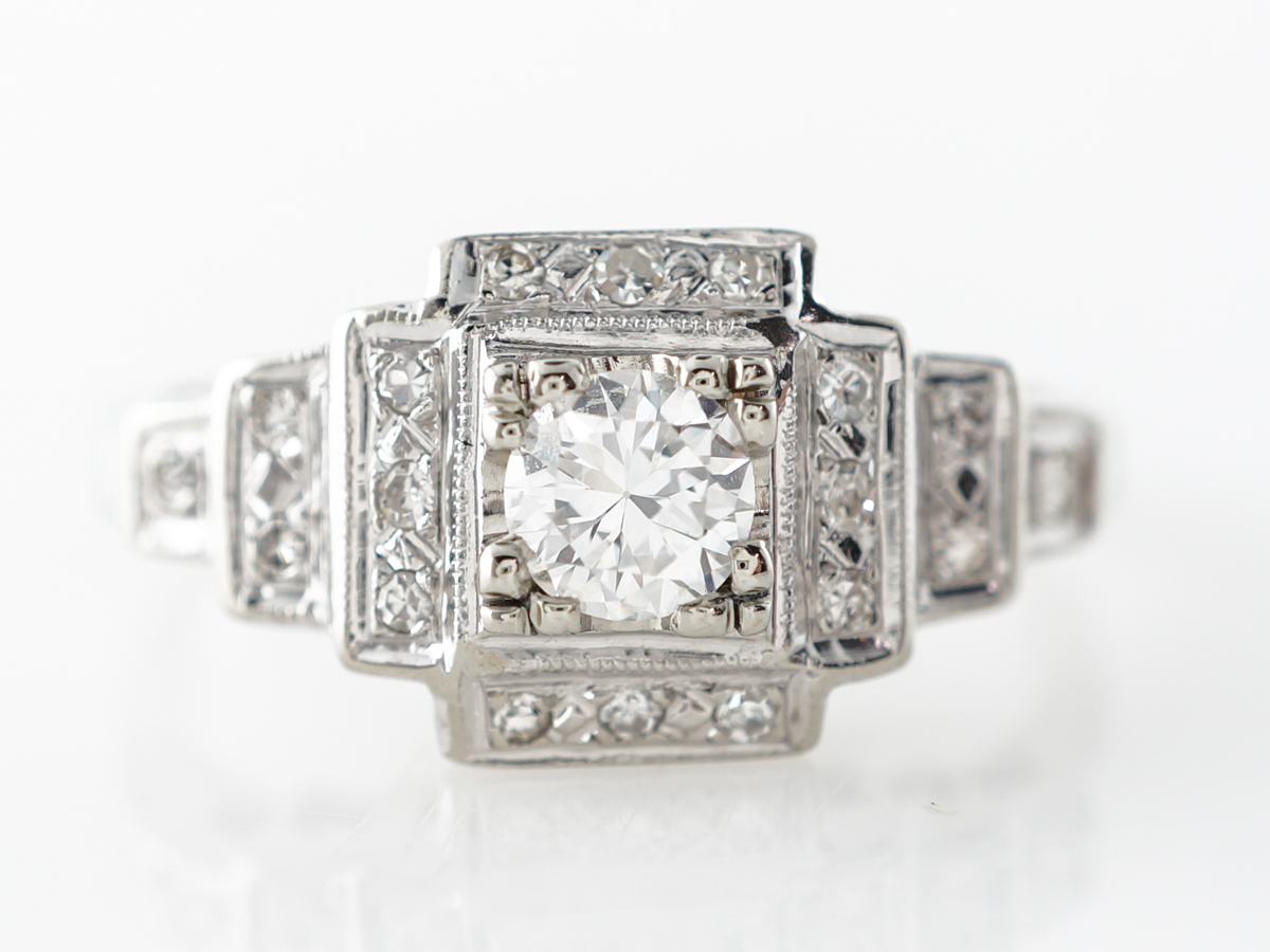 Vintage Deco Brilliant Diamond Engagement Ring in 14k
