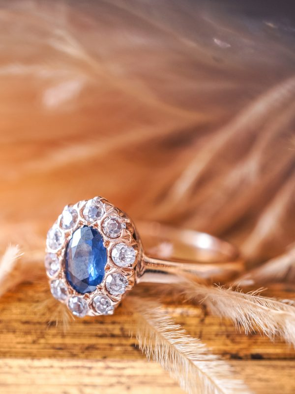 Vintage Engagement Ring Victorian .39 Oval Cut Sapphire in 14k Yellow Gold