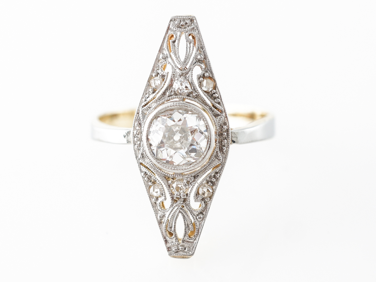 Antique Diamond Navette Ring in White & Yellow Gold