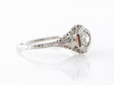 Deco Solitaire Filigree Engagement Ring in White Gold