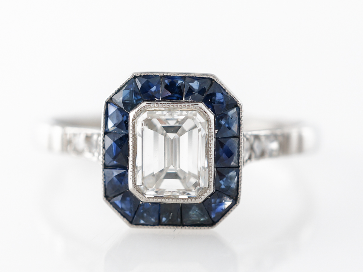 Emerald Cut Diamond w/ Sapphire Engagement Ring in Platinum