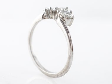 Marquise & Baguette Diamond Wedding Band in White Gold