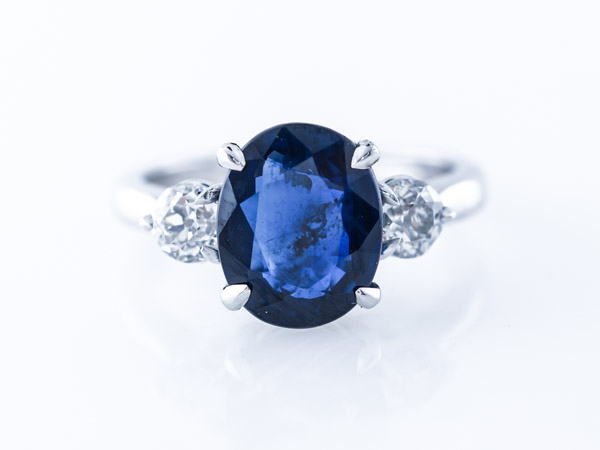 Oval Sapphire & Diamond Engagement Ring in Platinum