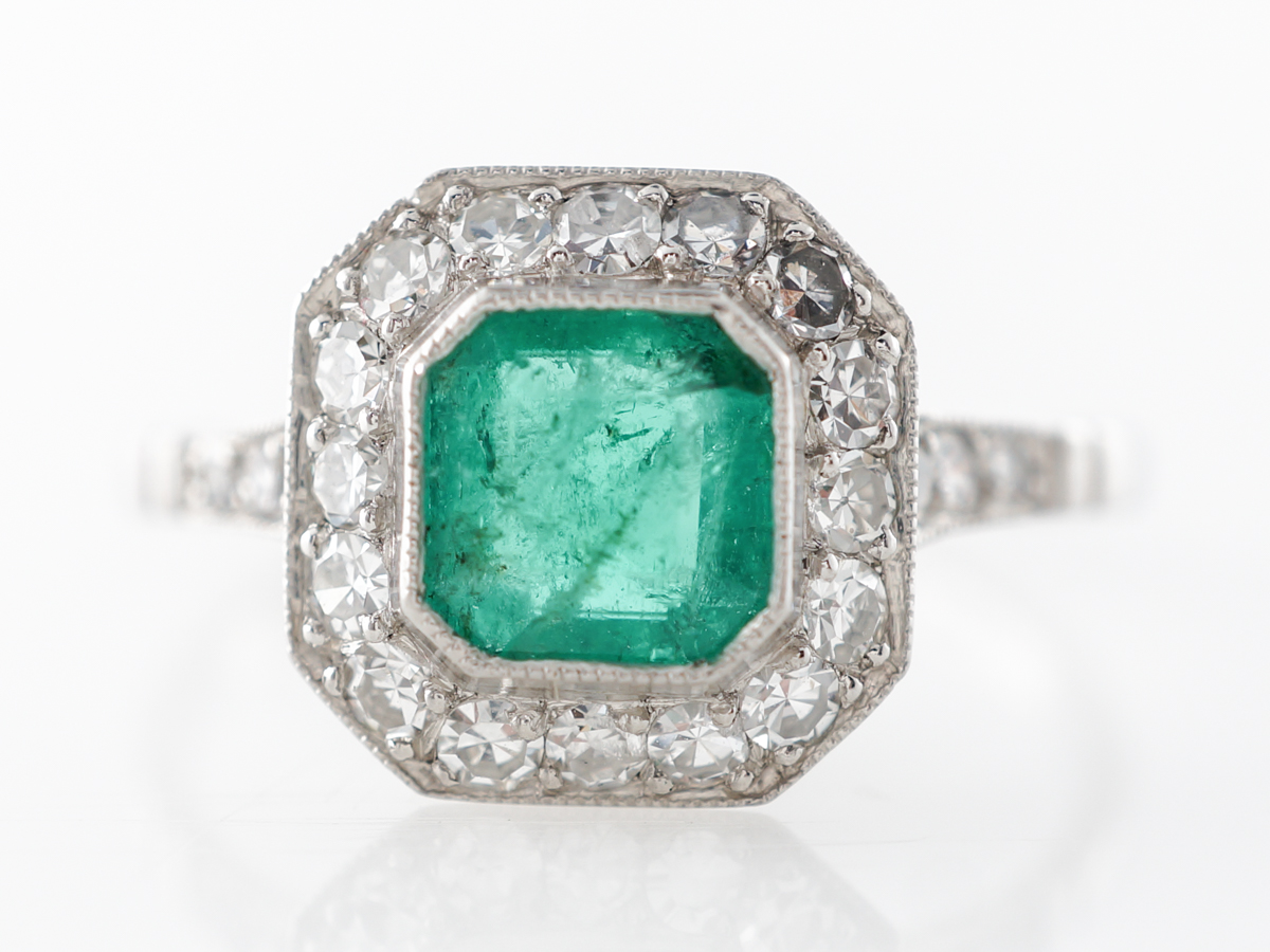 Square Cut Emerald & Diamond Engagement Ring in Platinum