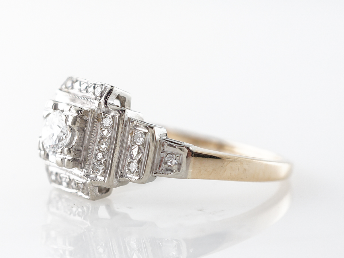 Vintage 1940's Diamond Engagement Ring in White & Yellow Gold