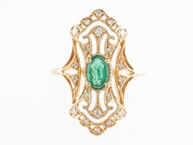 Oval Emerald Cocktail Ring w/ Diamond Accents in 18K