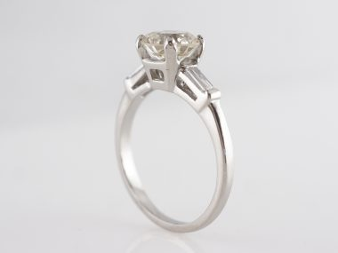 Mid-Century Solitaire Diamond Engagement Ring in Platinum